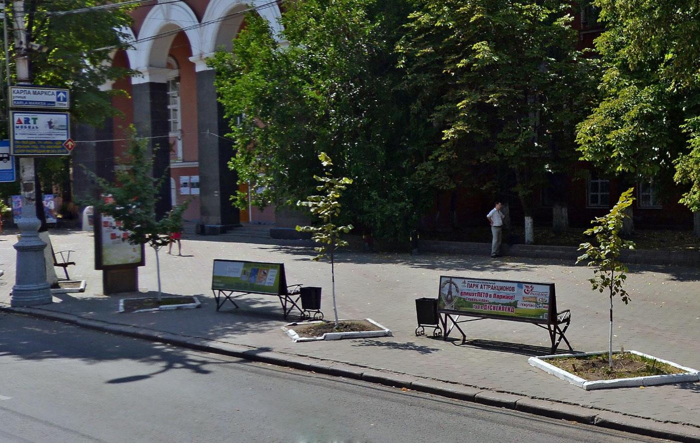 размещение рекламы на скамейках лавочках Воронеж